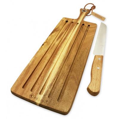 Deska i nóż do chleba z litego drewna akacjowego 93602