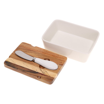 Porcelanowa maselniczka z pokrywką z drewna akacjowego i nożykiem ze stali nierdzewnej 93556