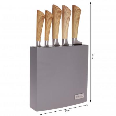 Zestaw 5 noży w lakierowanym bloku drewnianym