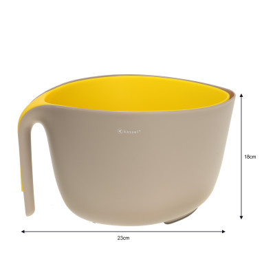 Misa z durszlakiem szaro - żółta 93702