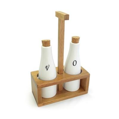 Zestaw do oliwy i vinegar z porcelany i drewna akacjowego 93576
