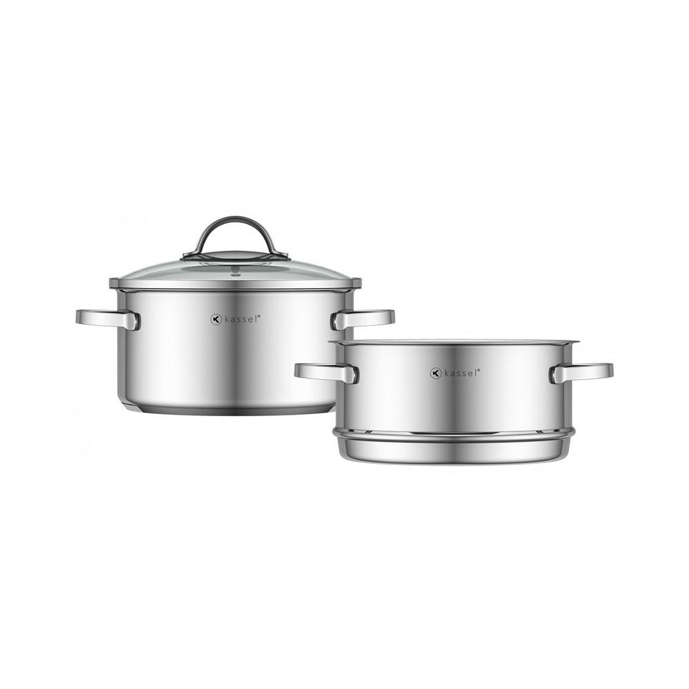 Zestaw 2 garnków z przykrywką do gotowania na parze ALICE 20 cm 93011